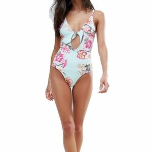 Pull & Bear Floral Plunge One Piece Swimsuit